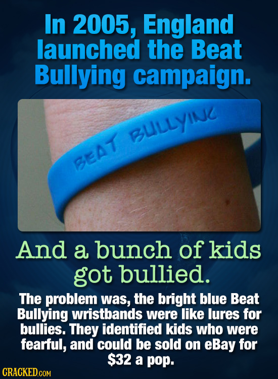 In 2005, England launched the Beat Bullying campaign. BULLYINC BEAT And a bunch of kids got bullied. The problem was, the bright blue Beat Bullying wr