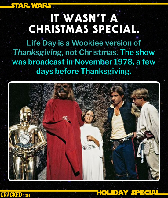 IT WASN'T A CHRISTMAS SPECIAL. Life Day is a Wookiee version of Thanksgiving, not Christmas. The show was broadcast in November 1978, a few days befor