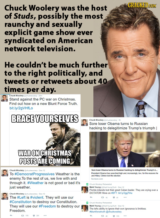 Chuck Woolery was the host of Studs, possibly the most raunchy and sexually explicit game show ever syndicated on American network television. He coul