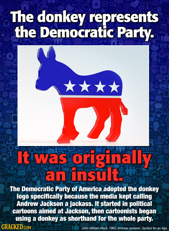 The donkey represents the Democratic Party. It was originally an insult. The Democratic Party of America adopted the donkey logo specifically because