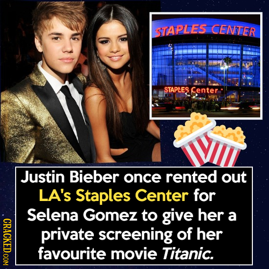 STAPLES CENTER STAPLES Center Justin Bieber once rented out LA's Staples Center for Selena Gomez to give her a CRACK private screening of her favourit