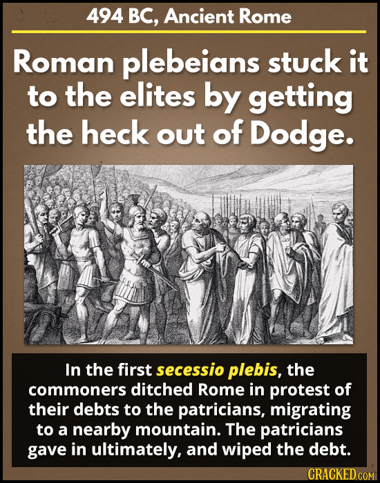 494 BC, Ancient Rome Roman plebeians stuck it to the elites by getting the heck out of Dodge. In the first secessio plebis, the commoners ditched Rome