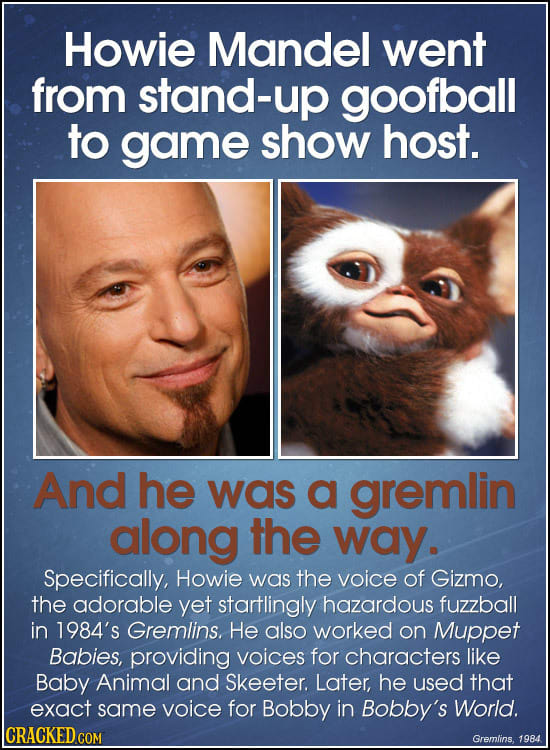 Howie Mandel went from stand-up goofball to game show host. And he was a gremlin along the way. Specifically, Howie was the voice of Gizmo, the adorab