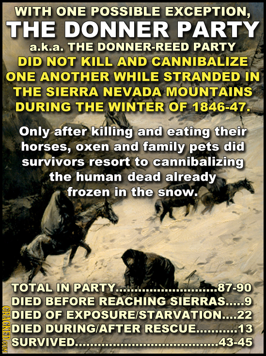 WITH ONE POSSIBLE EXCEPTION, THE DONNER PARTY a.k.a. THE DONNER-REED PARTY DID NOT KILL AND CANNIBALIZE ONE ANOTHER WHILE STRANDED IN THE SIERRA NEVAD