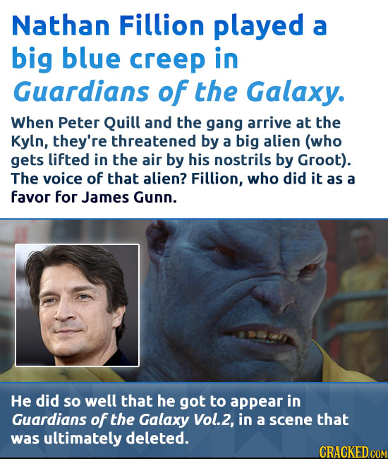 Nathan Fillion played a big blue creep in Guardians of the Galaxy. When Peter Quill and the gang arrive at the Kyln, they're threatened by a big alien