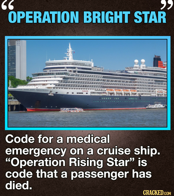 OPERATION BRIGHT STAR CENABD Code for a medical emergency on a cruise ship. Operation Rising Star is code that a passenger has died. CRACKED.COM