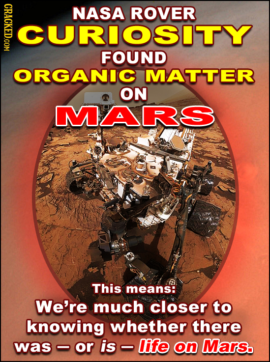 NASA ROVER CURIOSITY FOUND ORGANIC MATTER ON MARS This means: We're much closer to knowing whether there was or is life on Mars.