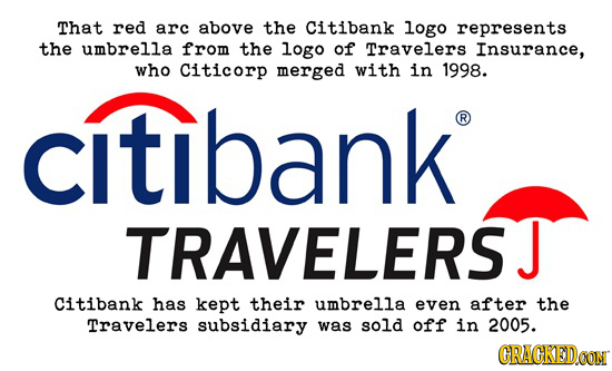 That red arc above the Citibank logo represents the umbrella from the logo of Travelers Insurance, who Citicorp merged with in 1998. citibank R TRAVEL