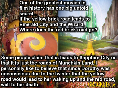 One of the greatest movies in film history has one big untold secret... If the yellow brick road leads to Emerald City and the Wizard, Where does the