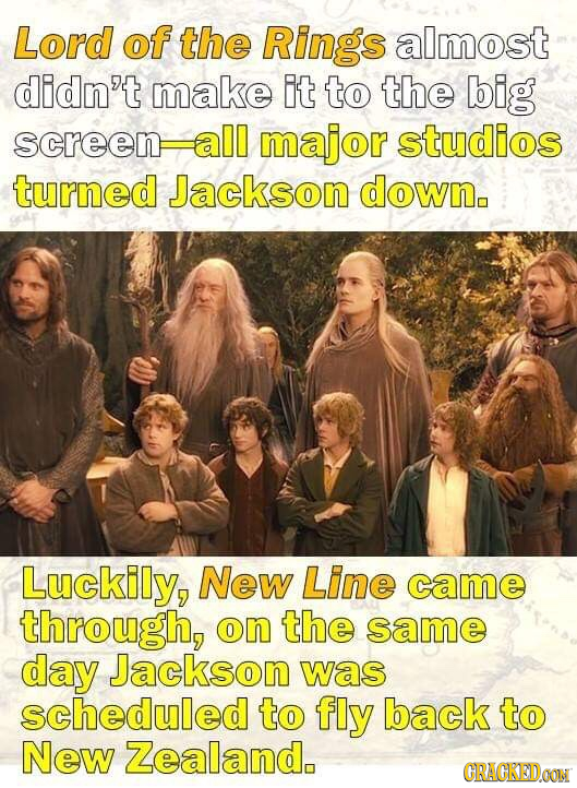 Lord of the Rings almost didn't make it to the big screen all major studios turned Jackson down. Luckily, New Line came through, on the same day Jacks