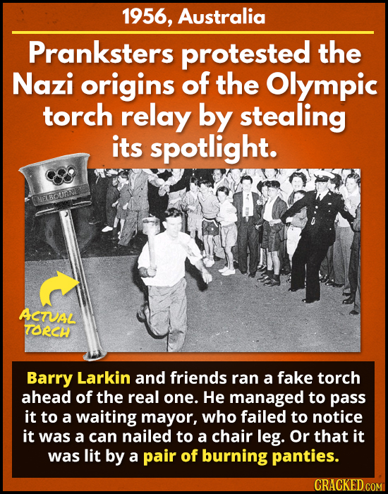 1956, Australia Pranksters protested the Nazi origins of the Olympic torch relay by stealing its spotlight. UEISOURNE ASTUAL TORCH Barry Larkin and fr