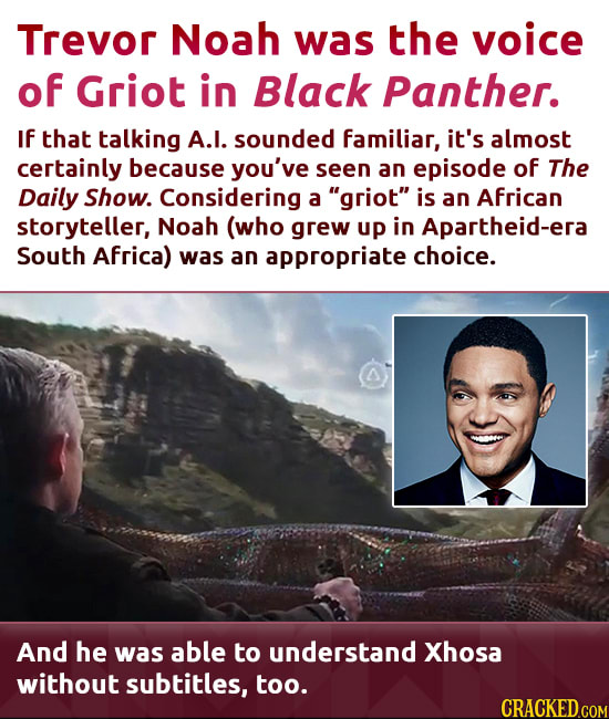 Trevor Noah was the voice of Griot in Black Panther. If that talking A.I. sounded familiar, it's almost certainly because you've seen an episode of Th