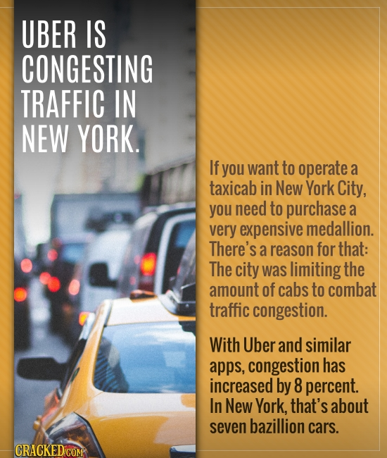 UBER IS CONGESTING TRAFFIC IN NEW YORK. If you want to operate a taxicab in New York City, you need to purchase a very expensive medallion. There's a