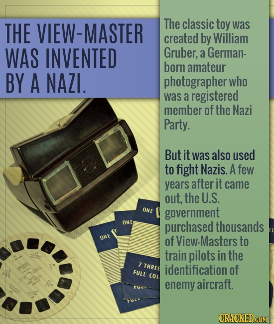 THE VIEW-MASTER The classic toy was created by William WAS INVENTED Gruber, a German- born amateur BY A NAZI. photographer who was a registered member