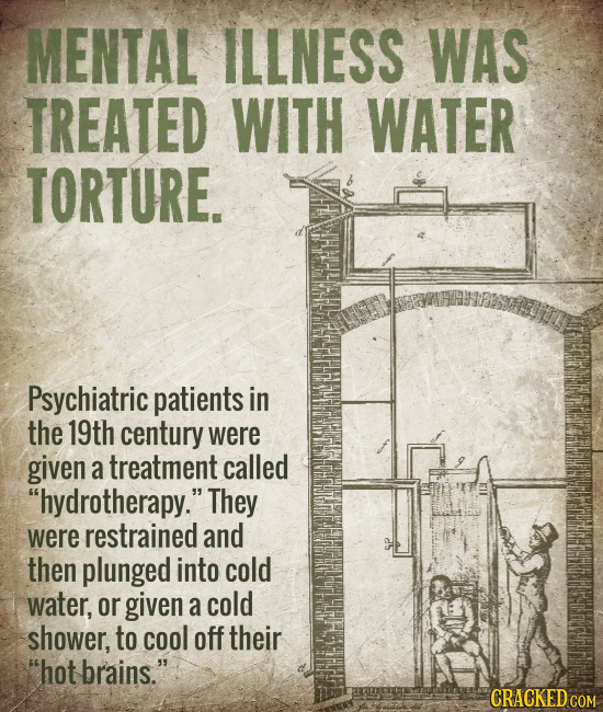 MENTAL ILLNESS WAS TREATED WITH WATER TORTURE. Psychiatric patients in the 19th century were given a treatment called hydrotherapy. They were restra