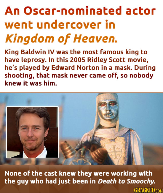 An Oscar-nominated actor went undercover in Kingdom of Heaven. King Baldwin IV was the most famous king to have leprosy. In this 2005 Ridley Scott mov