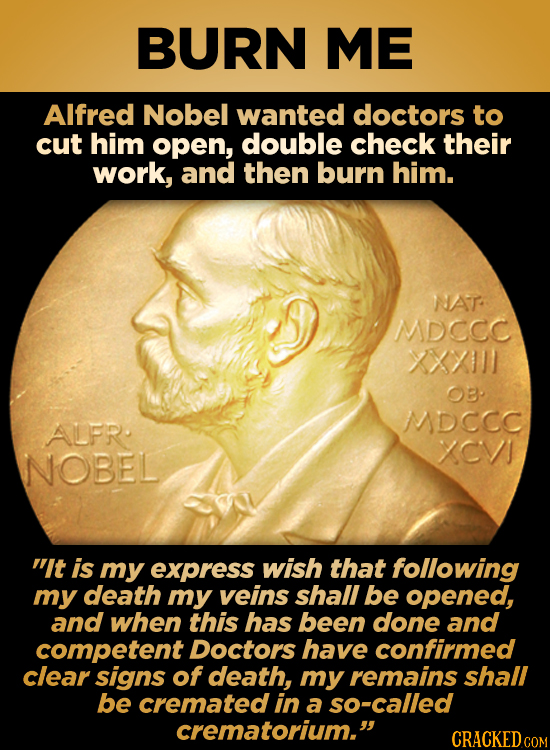 BURN ME Alfred Nobel wanted doctors to cut him open, double check their work, and then burn him. NAT MDCCC 1XX OB MDCCC AUFR. CVI NOBEL t is my expre