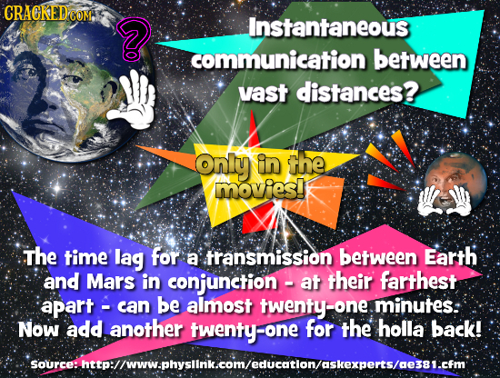 CRACKED COM D Instantaneous communication between vast distances? Only in the movies! The time lag for a transmission between Earth and Mars in conjun