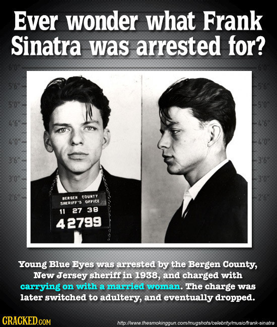Ever wonder what Frank Sinatra was arrested for? 56 30 S'0 6 40: 3 3'0 2'6 COUNTY BERGEN OFFICE SHERIFF'S 11 27 38 42799 Young Blue Eyes was arrested