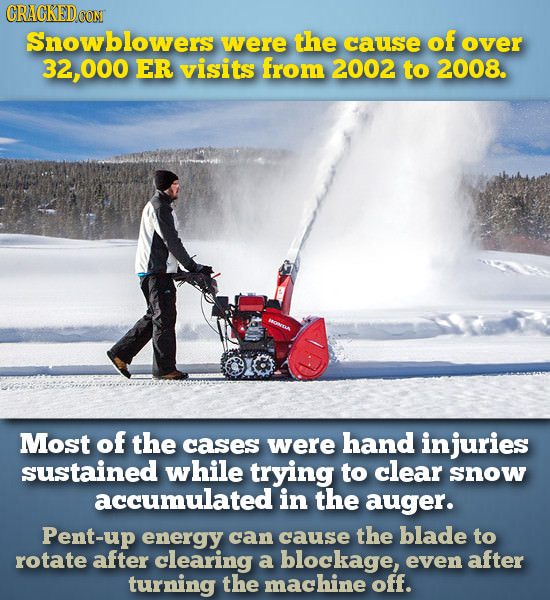 CRACKEDCON Snowblowers were the cause of over 2.000 ER visits from 2002 to 2008. Most of the cases were hand injuries sustained while trying to clear