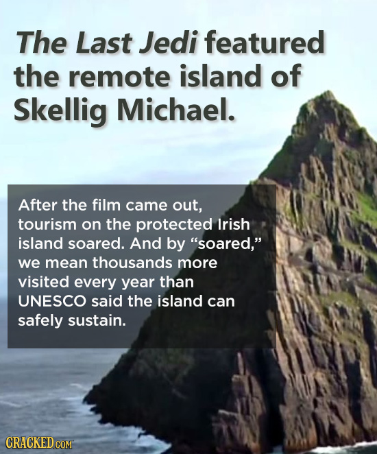 The Last Jedi featured the remote island of Skellig Michael. After the film came out, tourism on the protected lrish island soared. And by soared, w