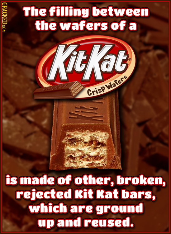 The filling between the wafers of a Kit Kat Crisp wafers is made of other, broken, rejected Kit Kat bars, which are ground up and reused.