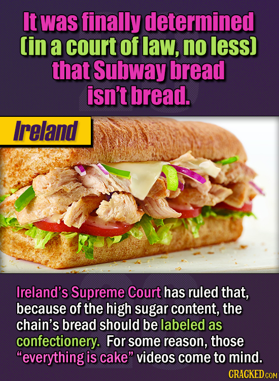 15 Of The Strangest Things 2020 Managed To Cook Up  (Part 1) - It was finally determined - in a court of law, no less - that Subway bread isn't bread.