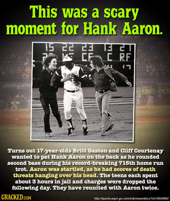 This was a scary moment for Hank Aaron. 15 22 EC CE C RF 11 Turns out 17-year-olds Britt Gaston and Cliff Courtenay wanted to pat Hank Aaron on the ba