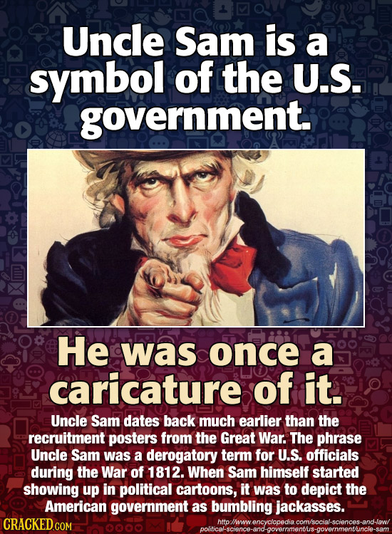 Uncle Sam is a symbol of the U.S. government. He was once a caricature of it. Uncle Sam dates back much earlier than the recruitment posters from the