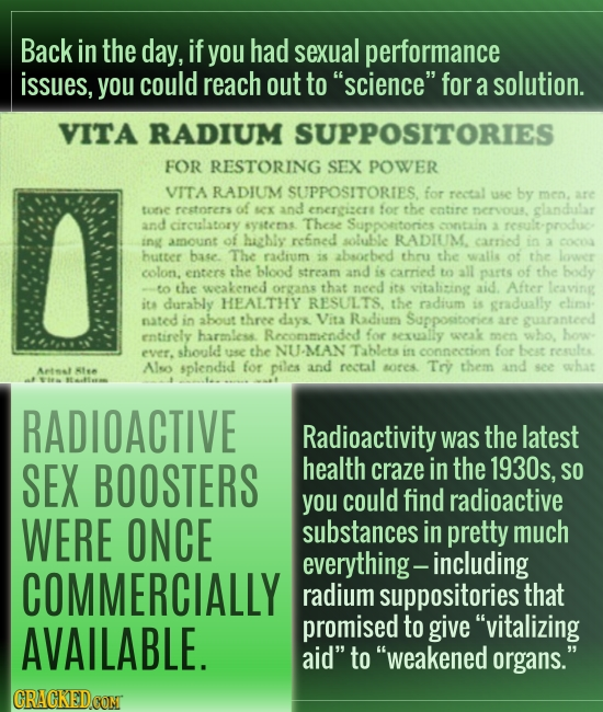 Back in the day, if you had sexual performance issues, you could reach out to science for a solution. VITA RADIUM SUPPOSITORIES FOR RESTORING SEX PO
