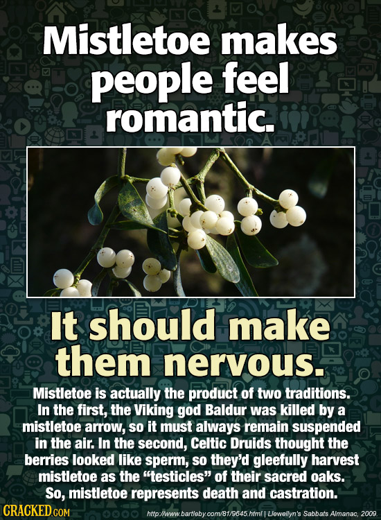 Mistletoe makes people feel romantic. It should make them nervous. Mistletoe is actually the product of two traditions. In the first, the Viking god B
