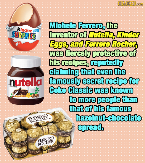 CRACKEDOON Michele Ferrero, the kinder SURPRISE inventor of Nutella, Kinder Eggs, and Ferrero Rocher, was fercely protective of his recipes, reputedly