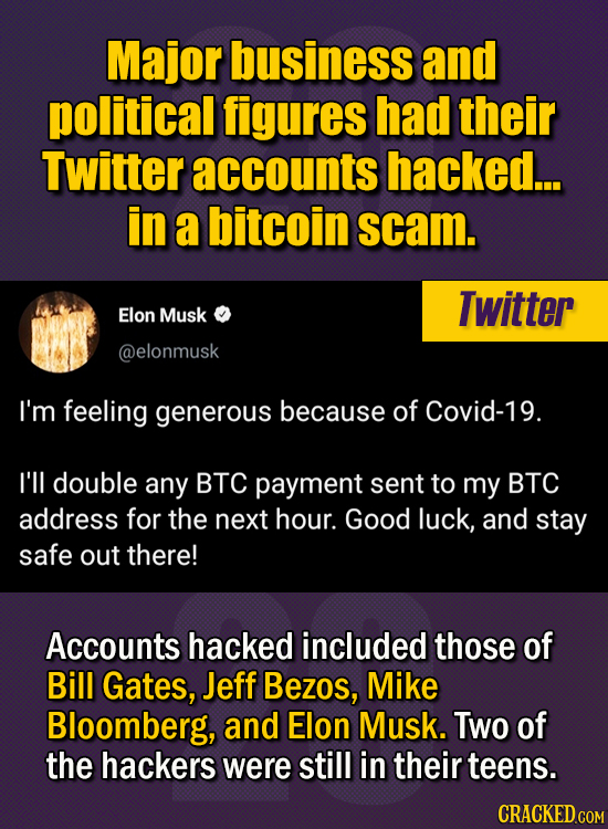 15 Of The Strangest Things 2020 Managed To Cook Up  (Part 1) - Major business and political figures had their Twitter accounts hacked...in a bitcoin s