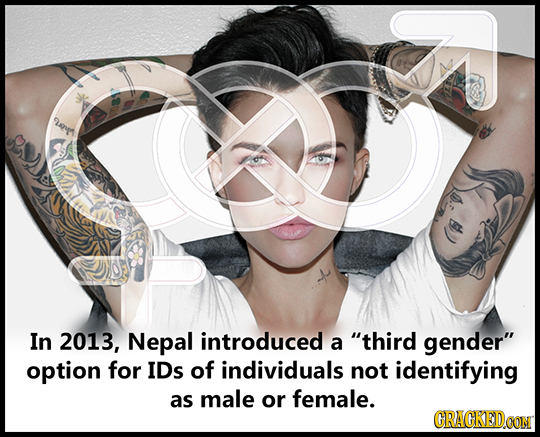 r s) In 2013, Nepal introduced a third gender option for IDs of individuals not identifying as male or female. CRACKEDCON