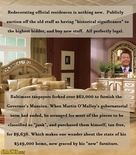 Redecorating official residences is nothing new. Publicly auction off the old stuff as having historical significance to the highest bidder, and buy