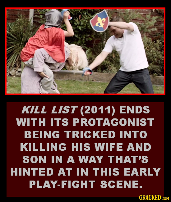 KILL LIST (2011) ENDS WITH ITS PROTAGONIST BEING TRICKED INTO KILLING HIS WIFE AND SON IN A WAY THAT'S HINTED AT IN THIS EARLY PLAY-FIGHT SCENE.
