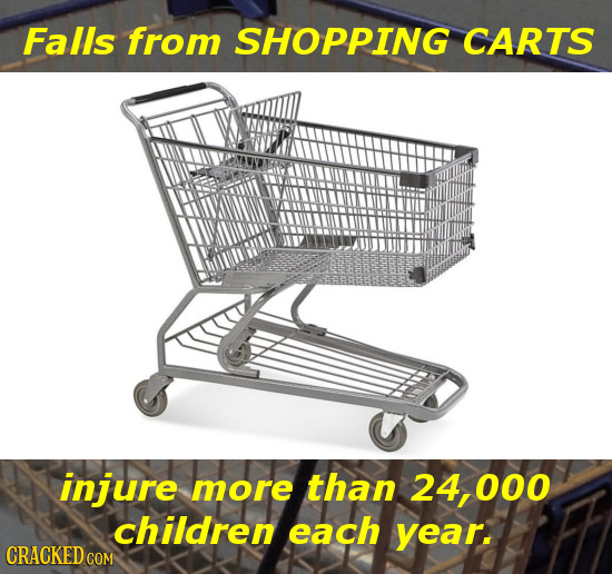 Falls from SHOPPING CARTS injure more than 24,000 children each year. CRACKED CO