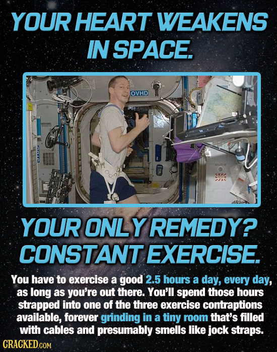 YOUR HEART WEAKENS IN SPACE. OVHD 0 YOUR ONLY REMEDY? CONSTANT EXERCISE. You have to exercise a good 2.5 hours a day, every day, as long as you're out