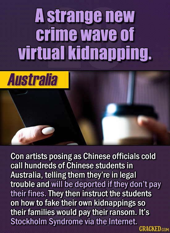 15 Of The Strangest Things 2020 Managed To Cook Up  (Part 1) - A strange new crime wave of virtual kidnapping. Con artists posing as Chinese officials