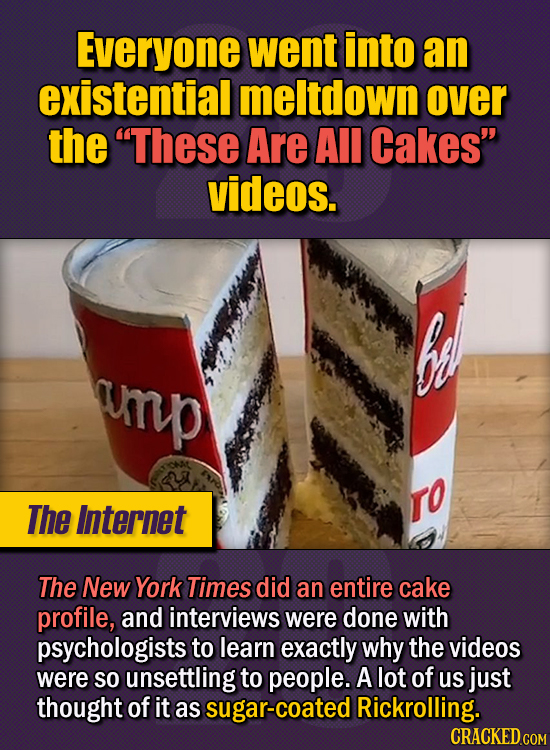 """15 Of The Strangest Things 2020 Managed To Cook Up  (Part 1) - Everyone went into an existential meltdown over the """"These Are All Cakes"""" videos. The N"""