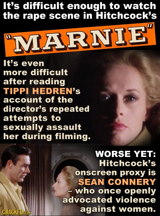 It's difficult enough to watch the rape scene in Hitchcock's MARNIE It's even more difficult after reading TIPPI HEDREN'S account of the director's