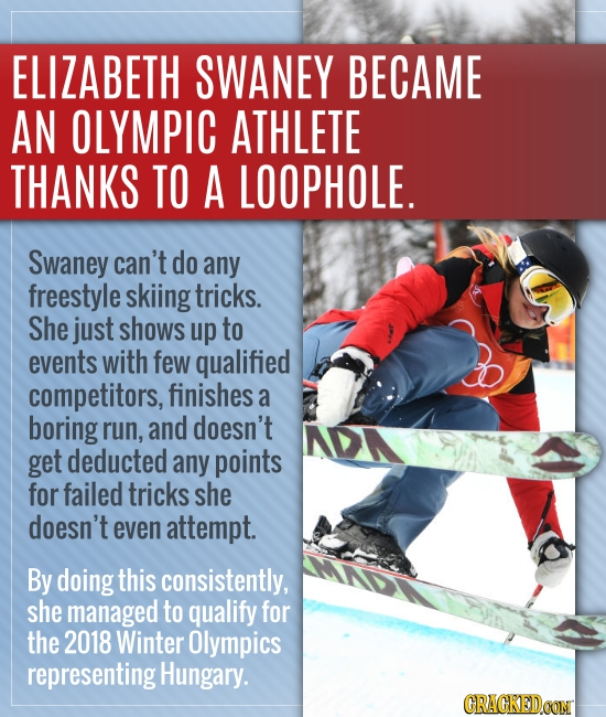 ELIZABETH SWANEY BECAME AN OLYMPIC ATHLETE THANKS TO A LOOPHOLE. Swaney can't do any freestyle skiing tricks. She just shows up to events with few qua
