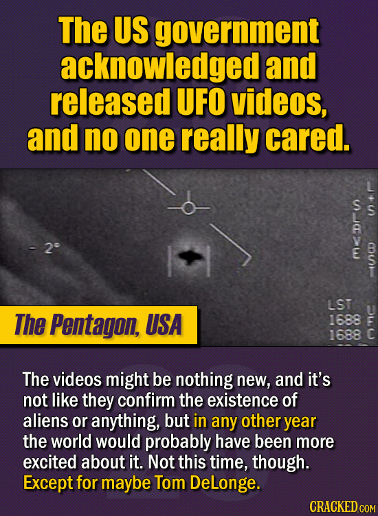 15 Of The Strangest Things 2020 Managed To Cook Up  (Part 1) - The US government acknowledged and released UFO videos, and no one really cared. The th