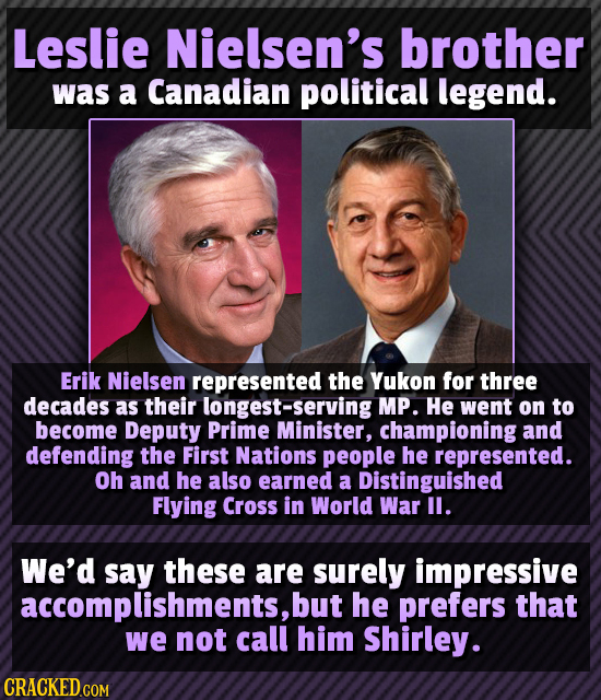Leslie Nielsen's brother was a Canadian political legend. Erik Nielsen represented the Yukon for three decades as their ongest-serving MP. He went on