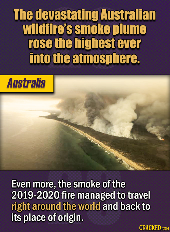 15 Of The Strangest Things 2020 Managed To Cook Up  (Part 1) - The devastating Australian wildfire's smoke plume rose the highest ever into the atmosp