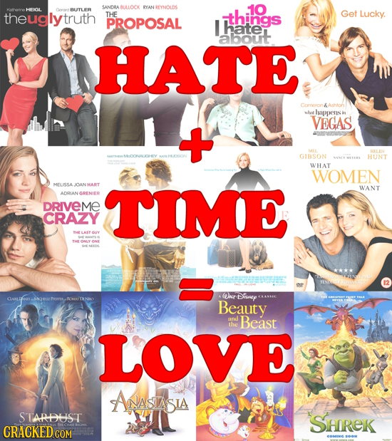 SANDRA BULLOCK AN REYNOLDS 10 HEIGL BUITLER theuglytruth THE things Get Lucky. PROPOSAL I hate about HATE Comoron &Ashton sahot happens VEGAS MEE GIBS