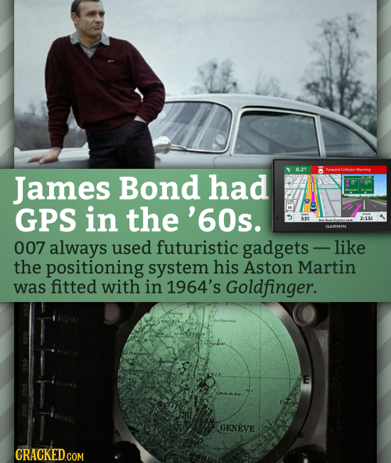 0.27 Famard Colhionv Warring James Bond had amenndt GPS in the '60s. 537 2:135 SAMMIN 007 always used futuristic gadgets - like the positioning system