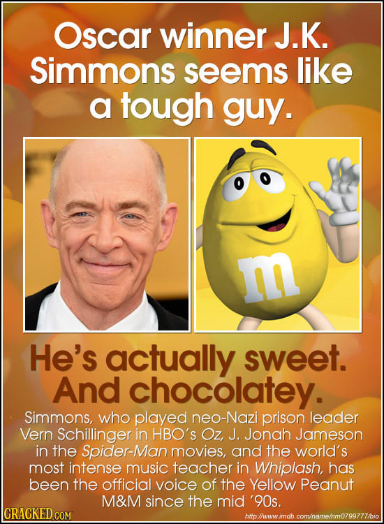 Oscar winner J.K. Simmons seems like a tough guy. m He's actually sweet. And chocolatey. Simmons, who played neo-Nazi prison leader Vern Schillinger i