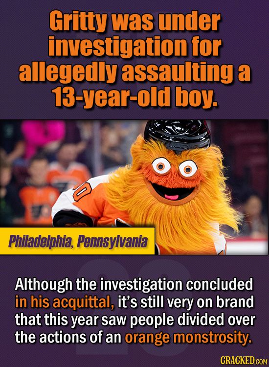 15 Of The Strangest Things 2020 Managed To Cook Up  (Part 1) - Gritty was under investigation for allegedly assaulting a 13-year-old boy. Although the