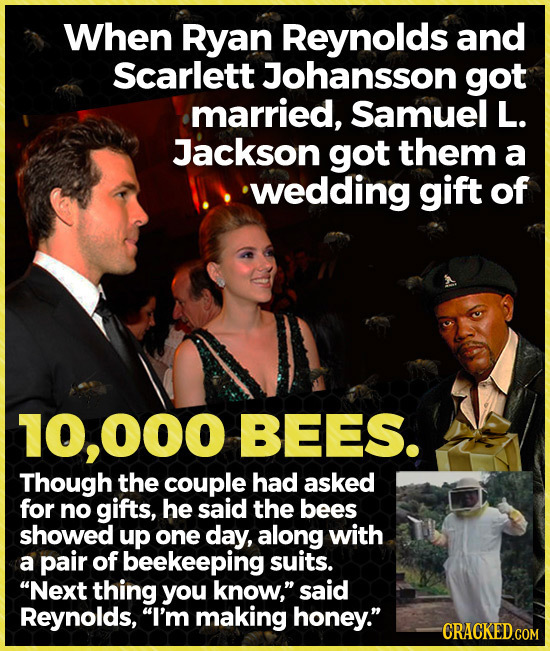 When Ryan Reynolds and Scarlett Johansson got married, Samuel L. Jackson got them a wedding gift of 10,000 BEES. Though the couple had asked for no gi